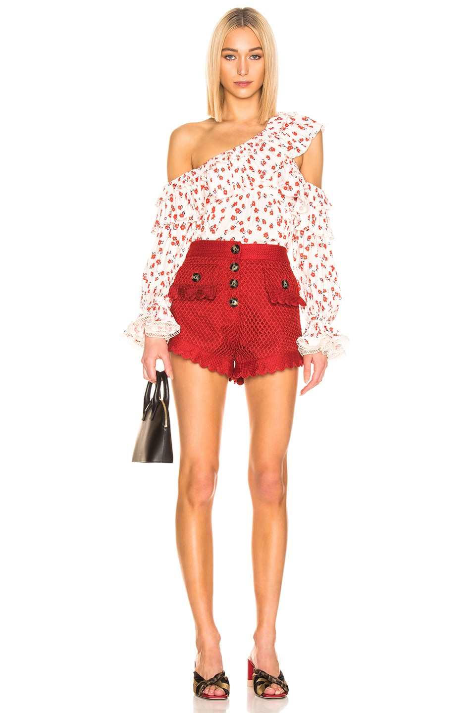 Image 4 of self-portrait Crochet Lace Shorts in Rust