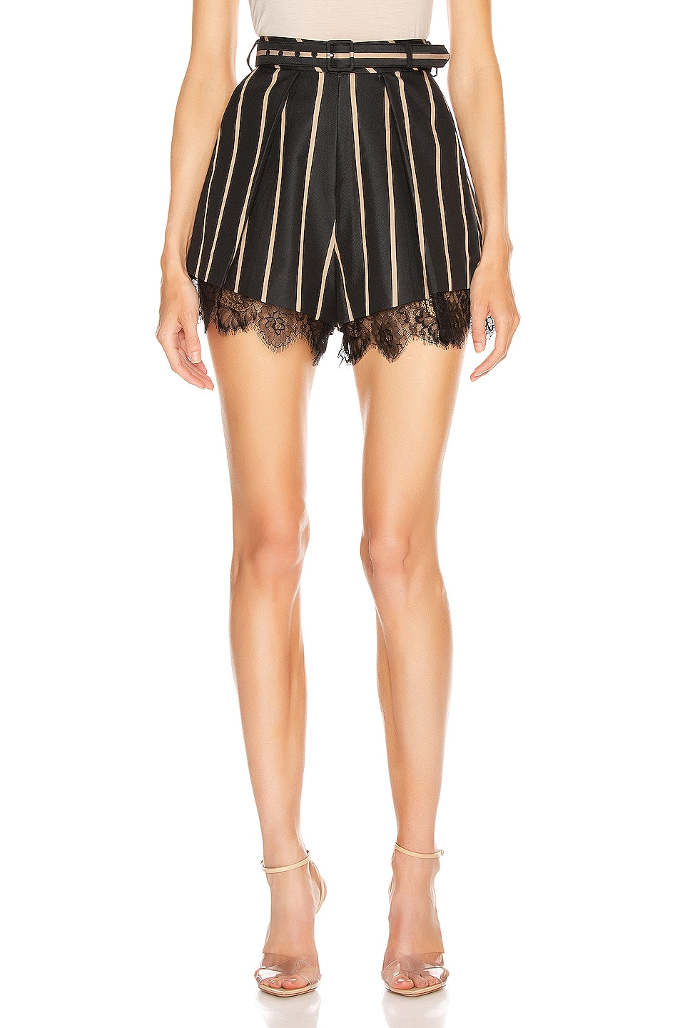 Image 1 of self-portrait Tailoring Stripe Short in Black & Beige