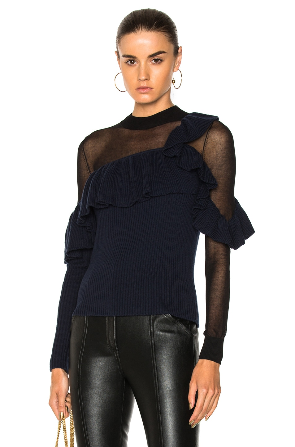 Self-Portrait  ASYMMETRIC FRILL SWEATER IN BLACK, BLUE.