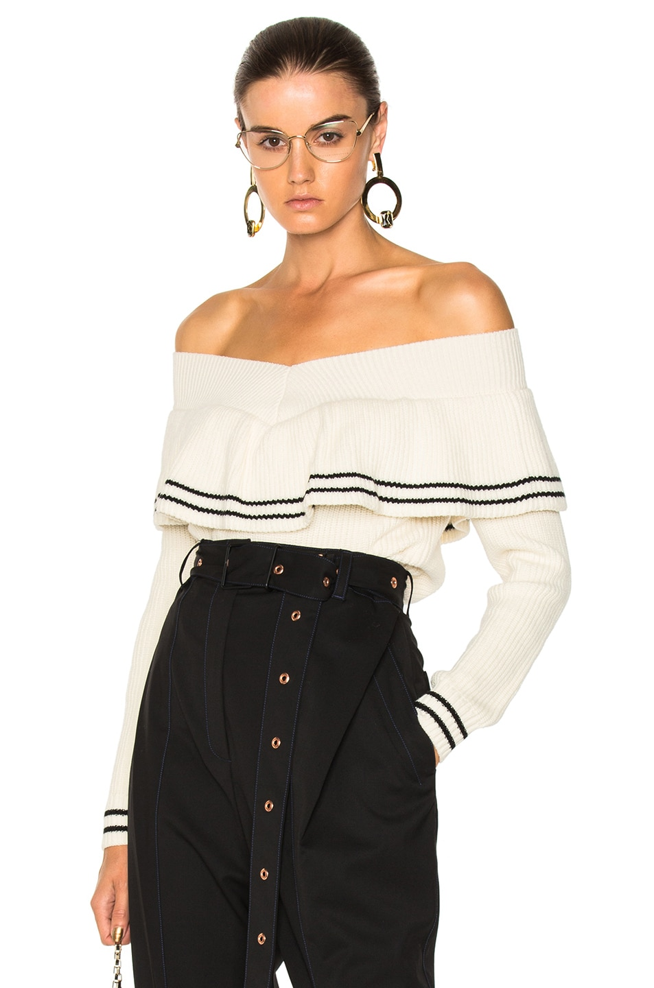 self-portrait Striped Off Shoulder Sweater in White | FWRD
