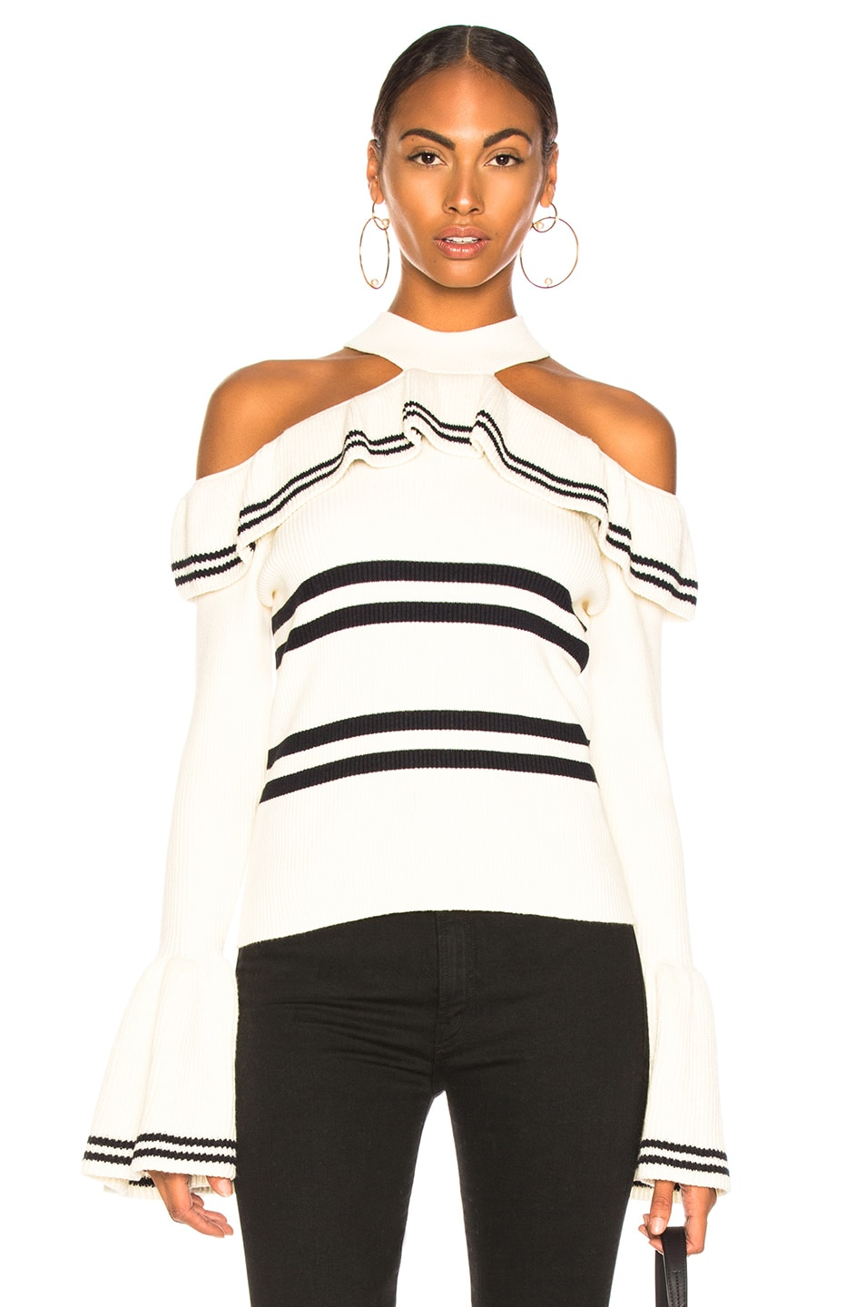 Image 1 of self-portrait Striped Frill Knit Sweater in Ivory