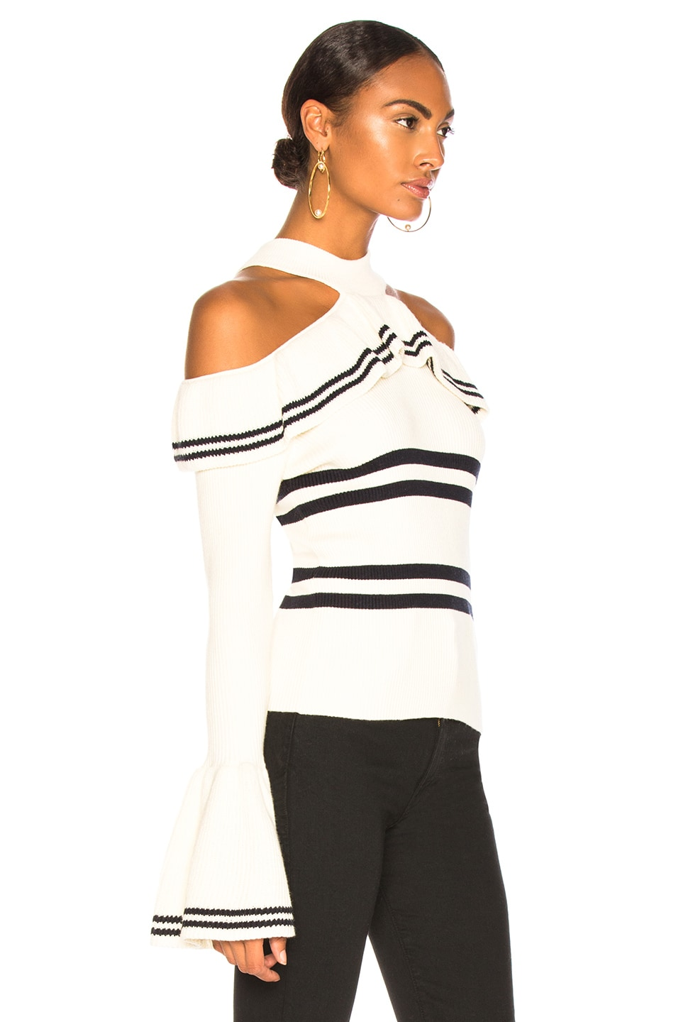 Image 2 of self-portrait Striped Frill Knit Sweater in Ivory