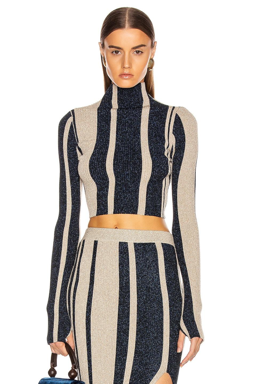 Image 1 of self-portrait Striped Crop Sweater in Navy & Beige