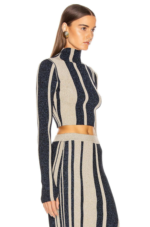 Image 2 of self-portrait Striped Crop Sweater in Navy & Beige