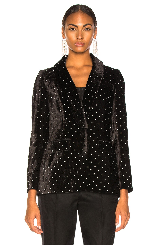 Image 2 of self-portrait Velvet Diamante Jacket in Black