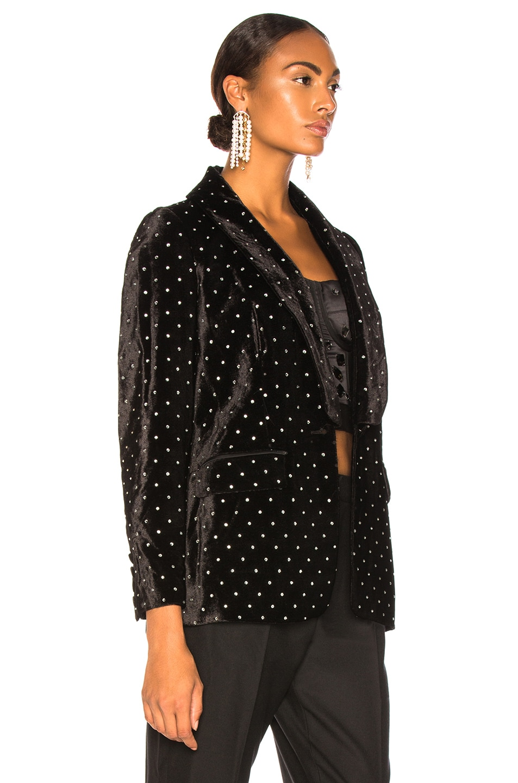 Image 3 of self-portrait Velvet Diamante Jacket in Black