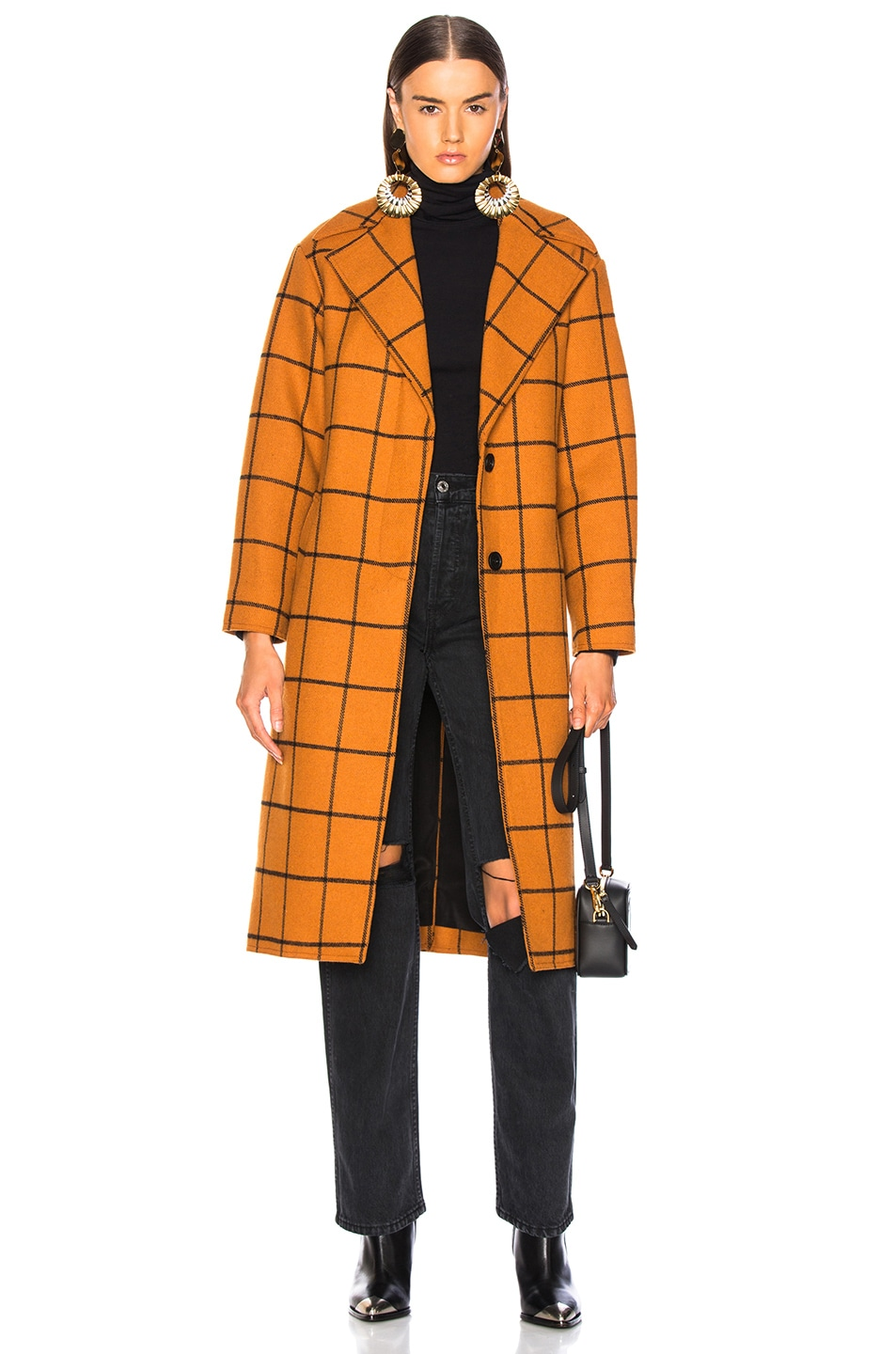 Image 1 of self-portrait Long Check Overcoat in Tan