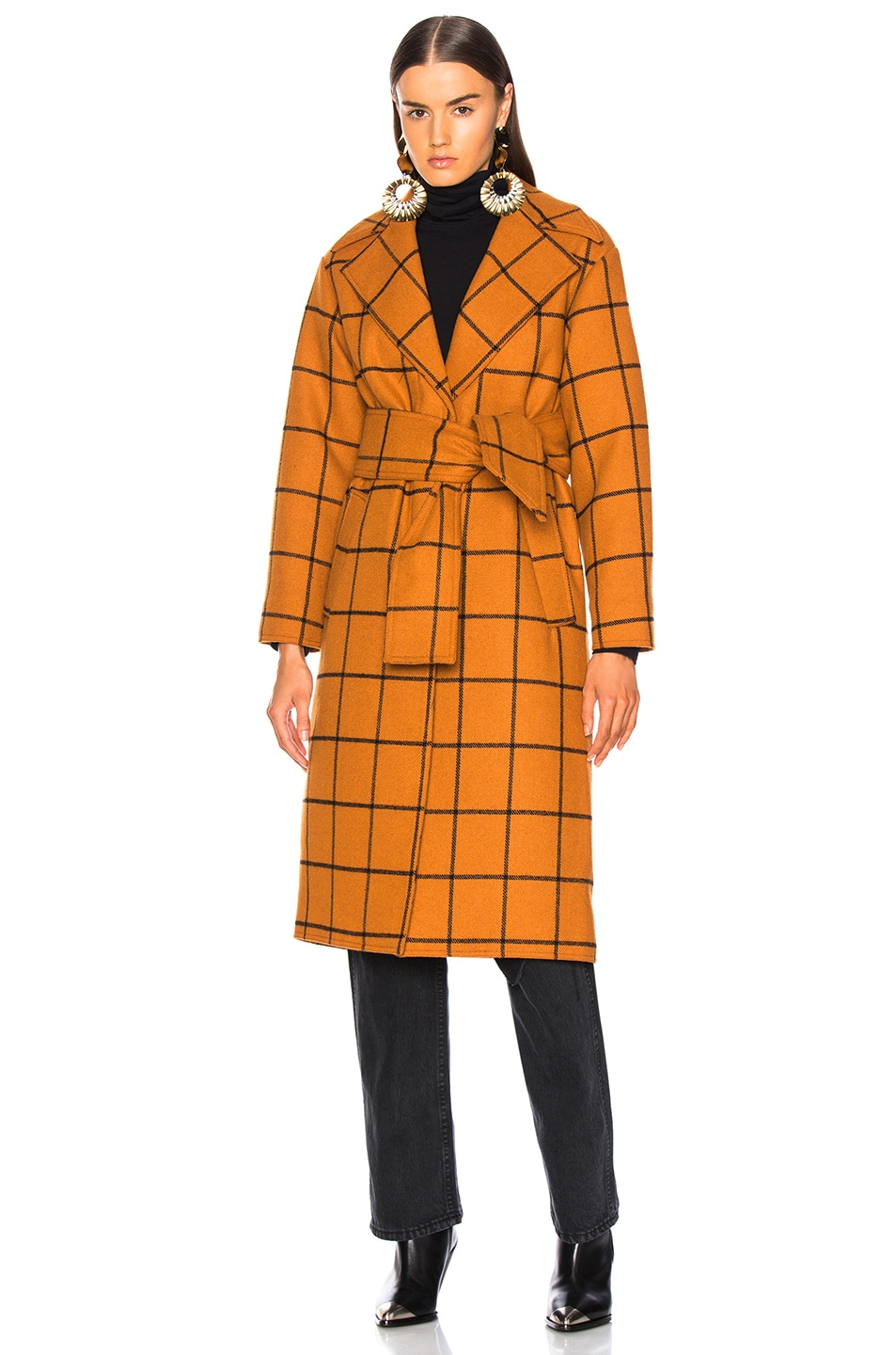 Image 2 of self-portrait Long Check Overcoat in Tan
