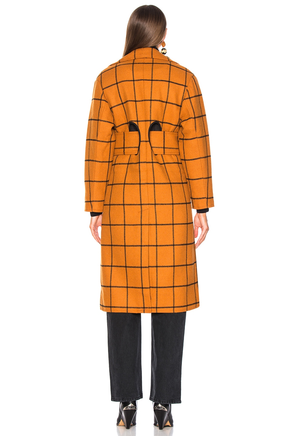 Image 4 of self-portrait Long Check Overcoat in Tan
