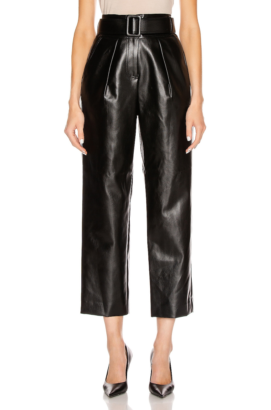 Image 1 of self-portrait Faux Leather High Waist Trouser Pant in Black