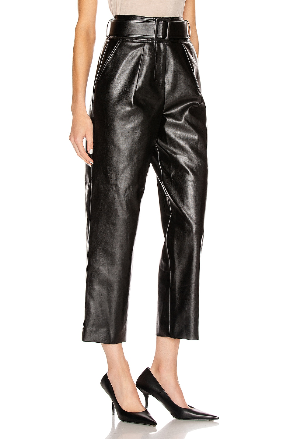 Image 2 of self-portrait Faux Leather High Waist Trouser Pant in Black