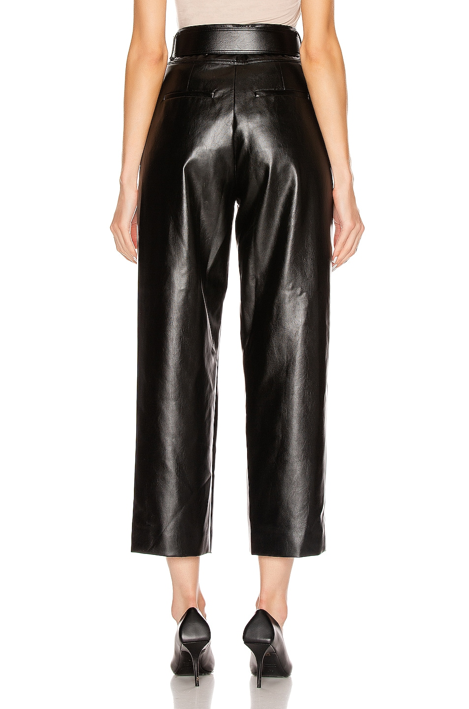 Image 3 of self-portrait Faux Leather High Waist Trouser Pant in Black