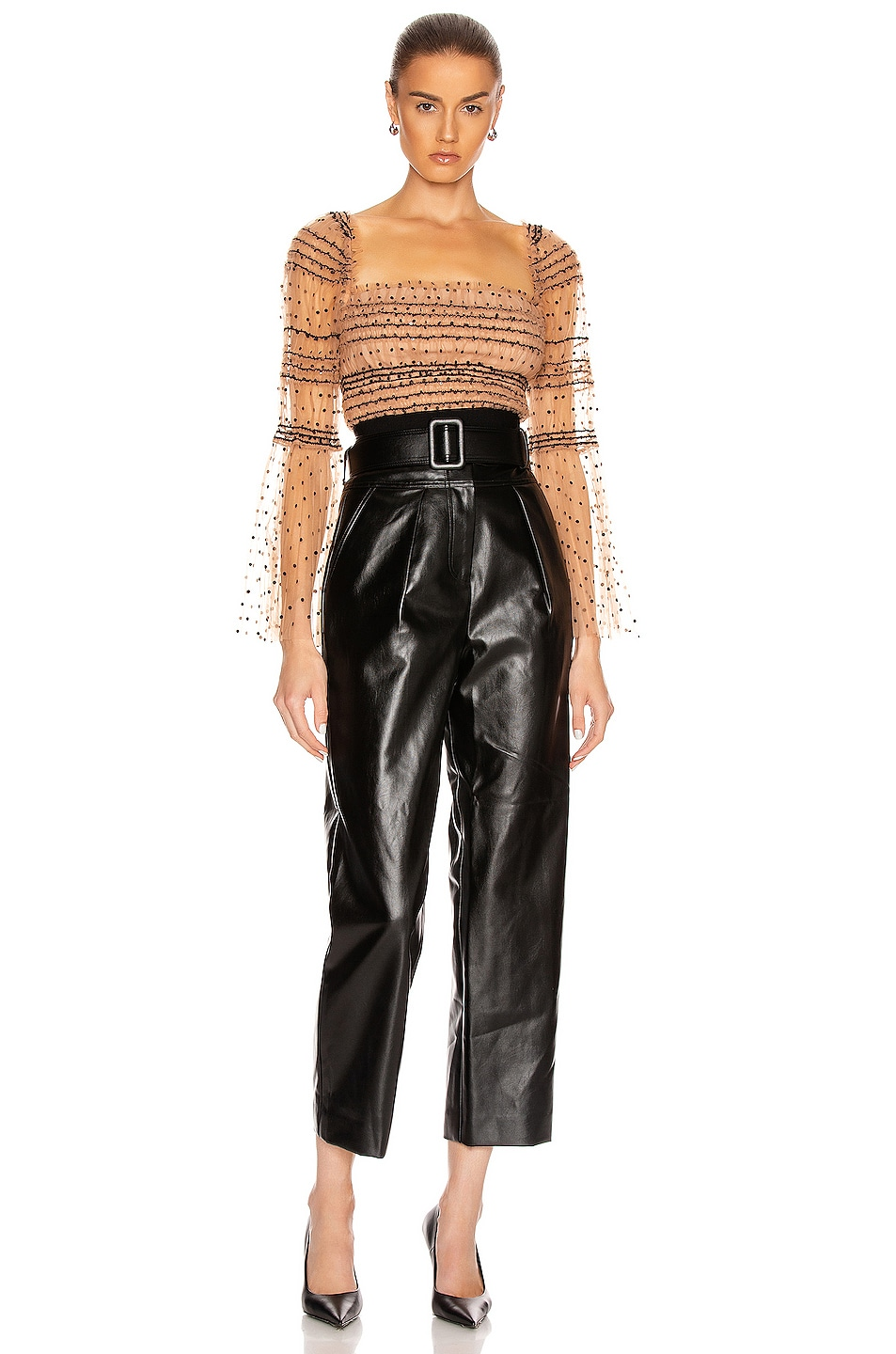 Image 4 of self-portrait Faux Leather High Waist Trouser Pant in Black