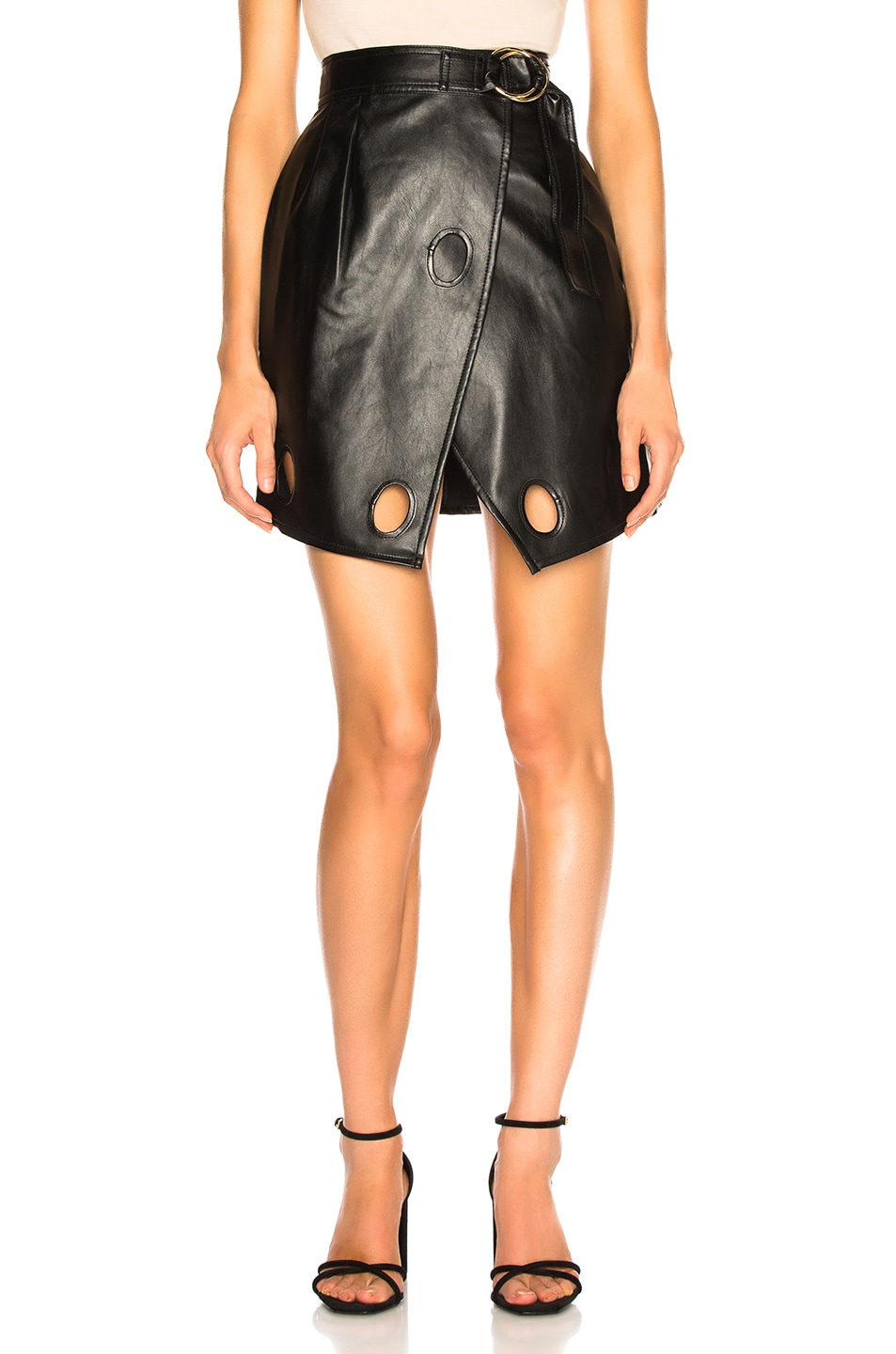 Image 1 of self-portrait Faux Leather Wrap Skirt in Black