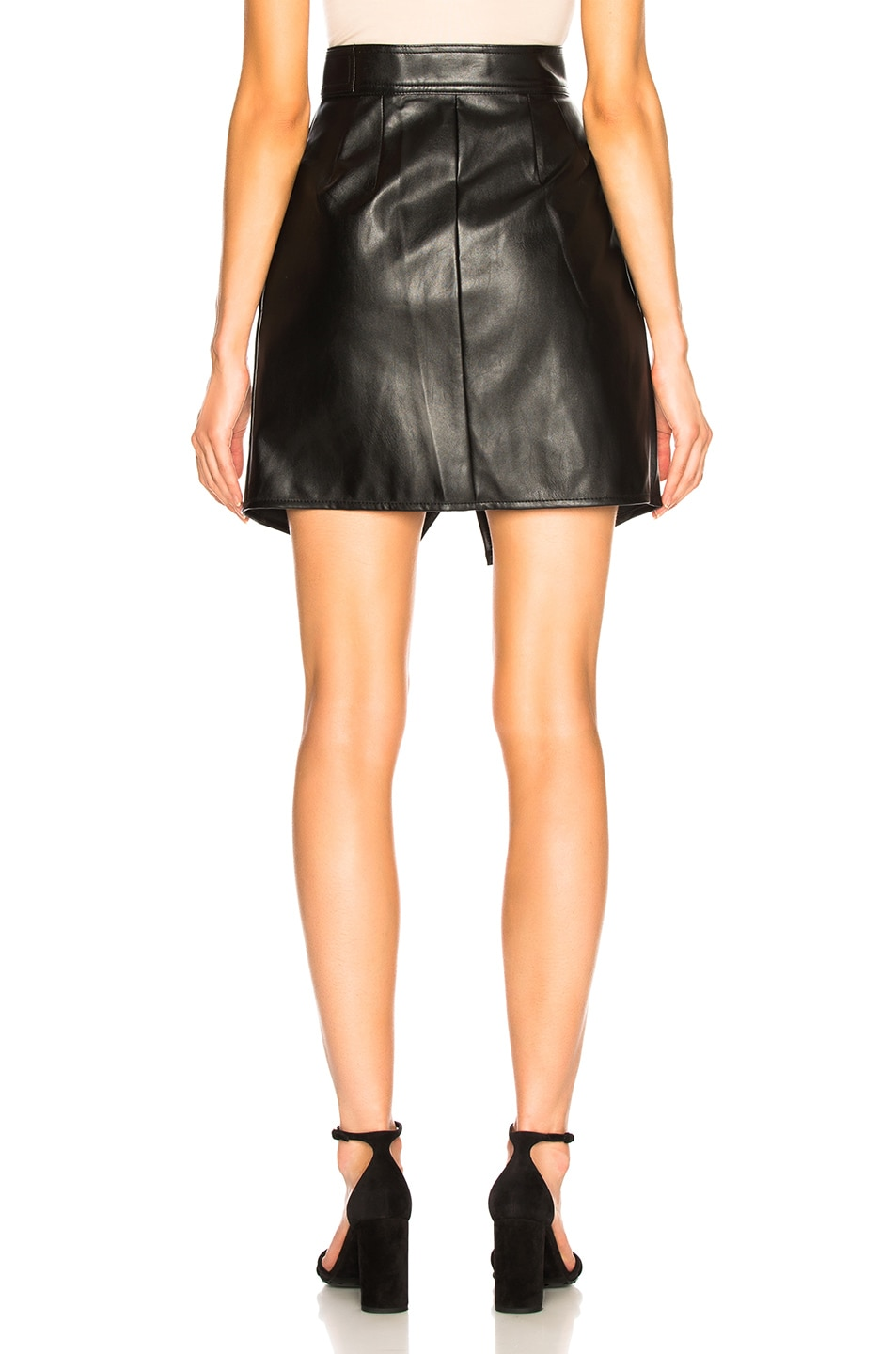 Image 3 of self-portrait Faux Leather Wrap Skirt in Black