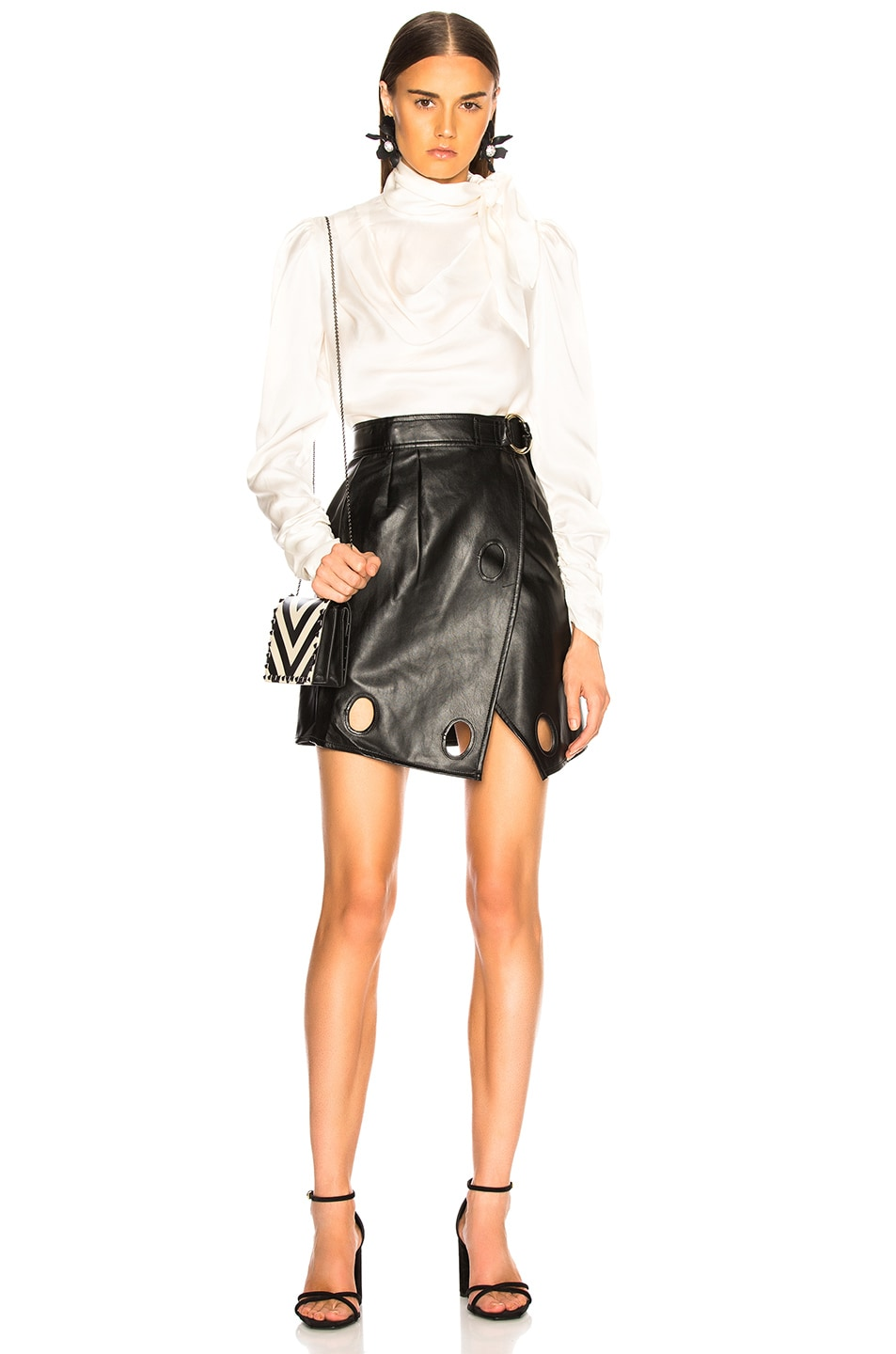 Image 4 of self-portrait Faux Leather Wrap Skirt in Black