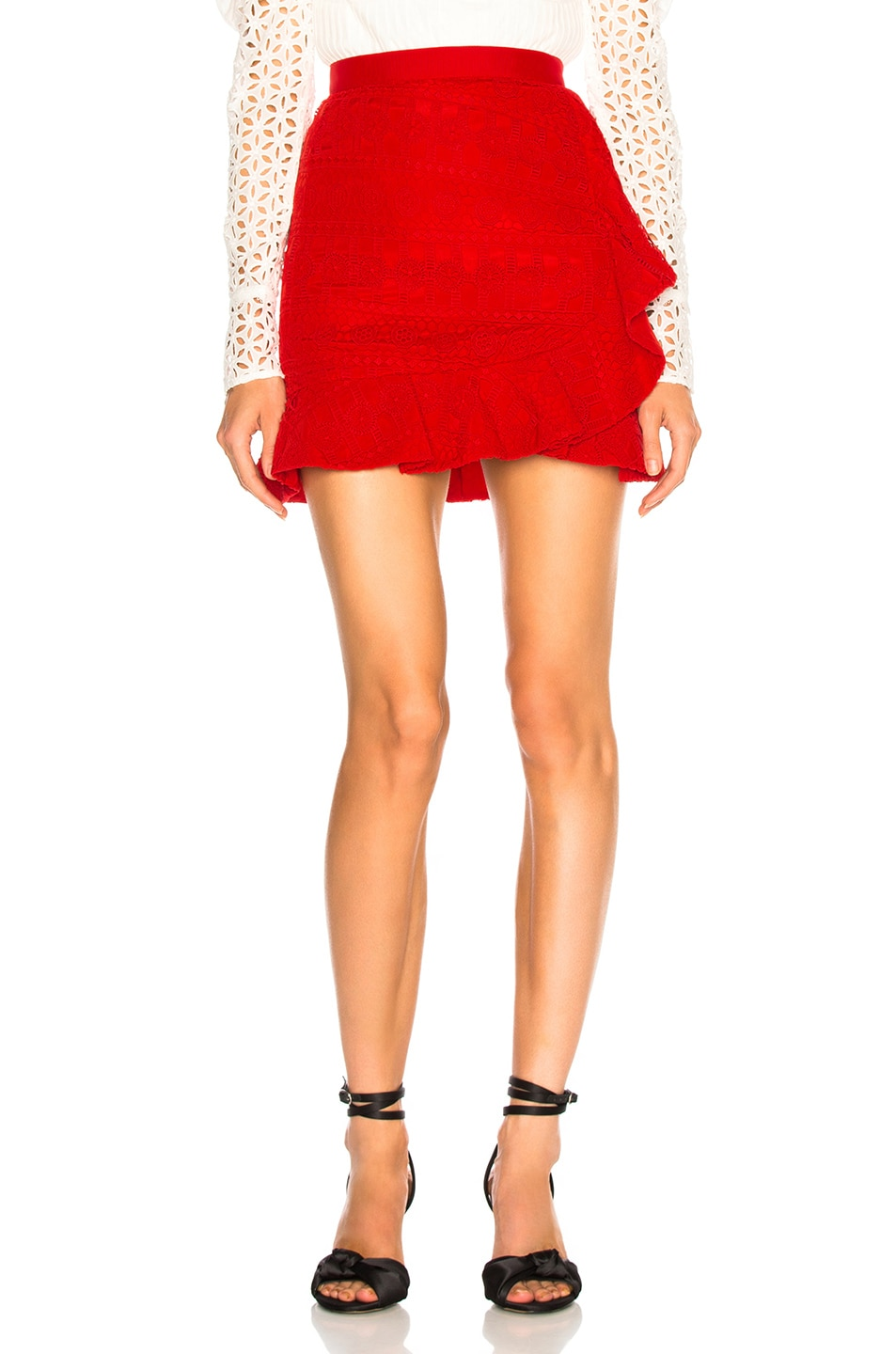 Image 1 of self-portrait Lace Fill Mini Skirt in Red