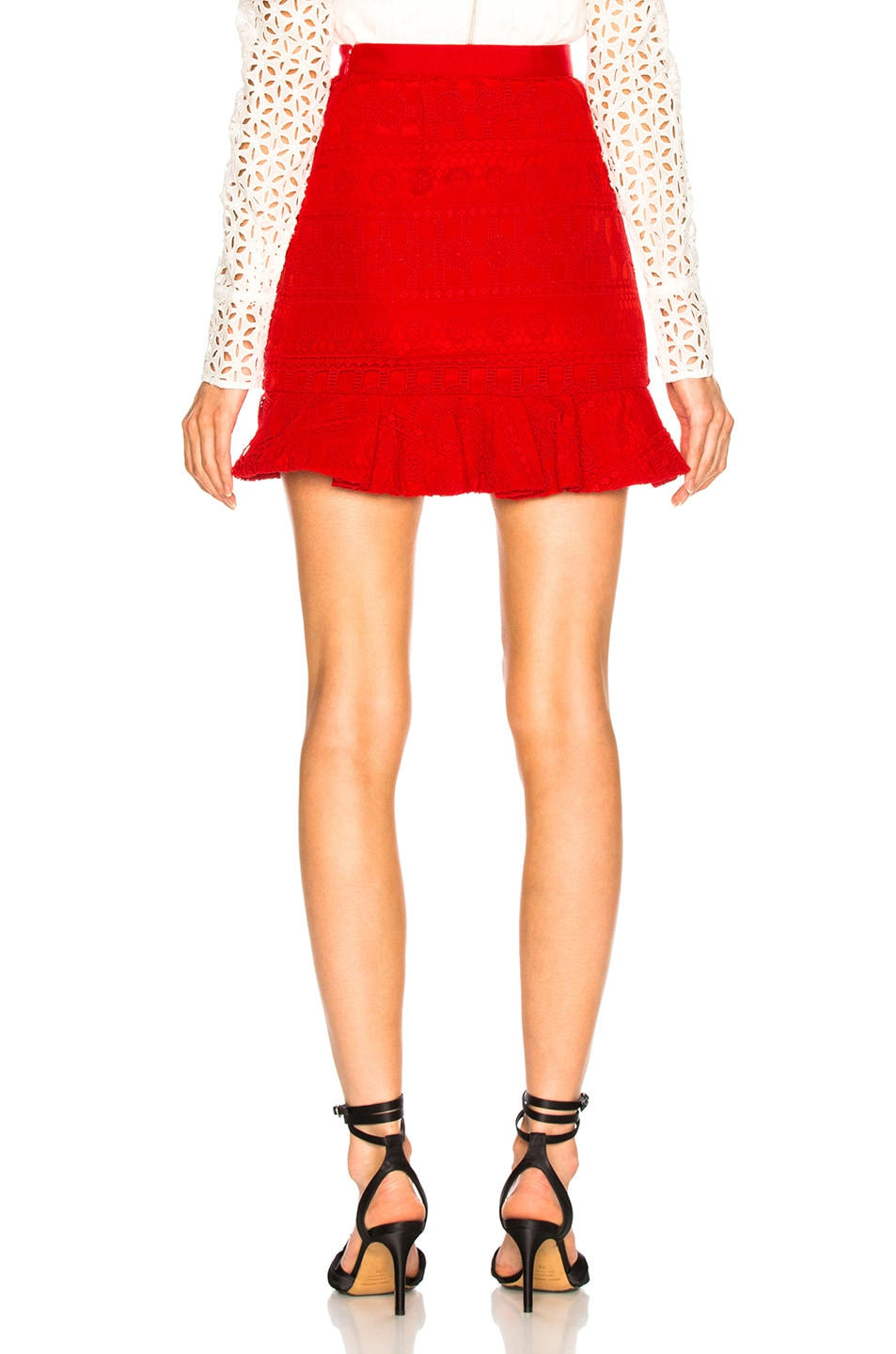Image 4 of self-portrait Lace Fill Mini Skirt in Red