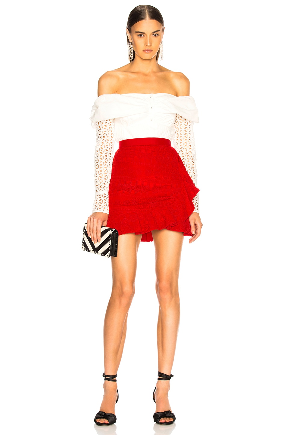 Image 5 of self-portrait Lace Fill Mini Skirt in Red