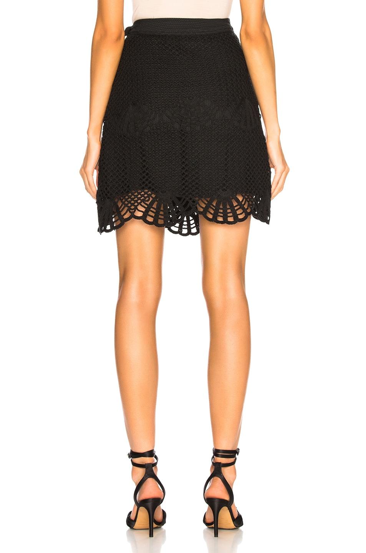 Image 4 of self-portrait Crochet Mini Skirt in Black