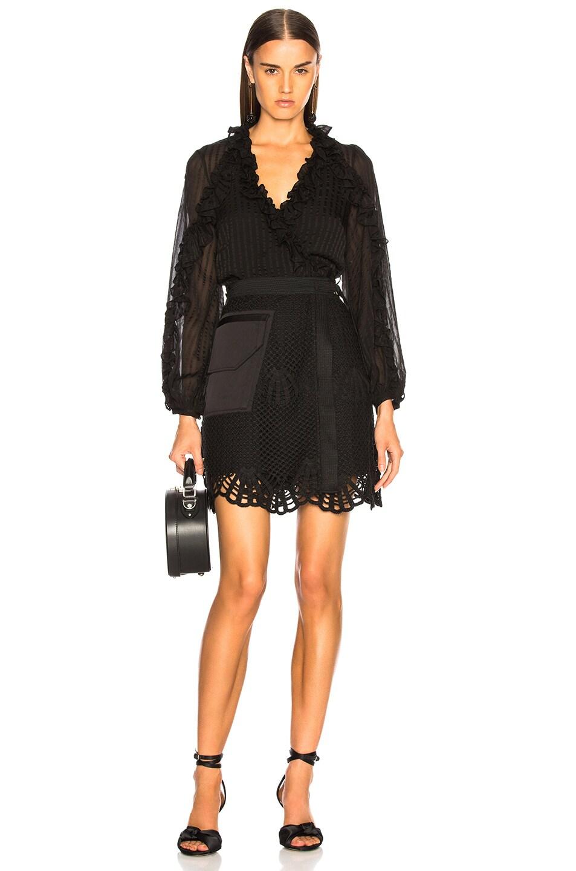 Image 5 of self-portrait Crochet Mini Skirt in Black