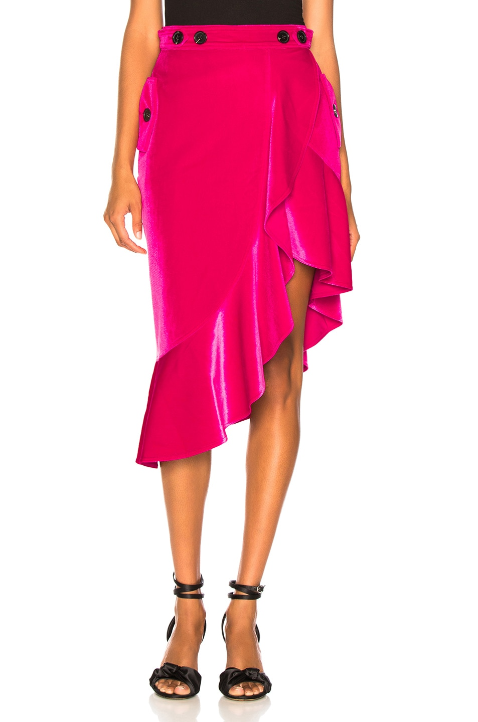 Image 1 of self-portrait Flounced Velvet Skirt in Fuchsia