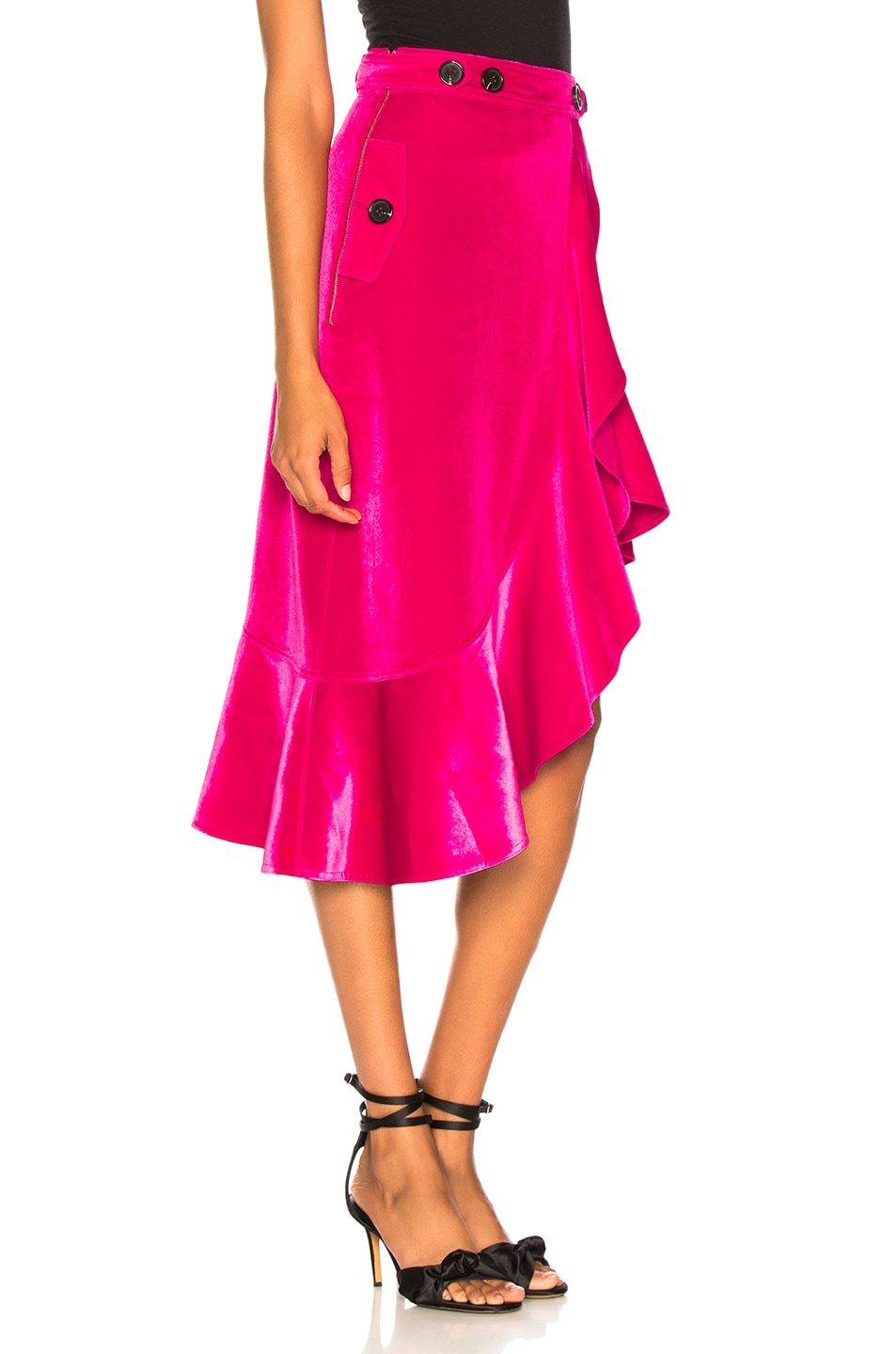Image 2 of self-portrait Flounced Velvet Skirt in Fuchsia