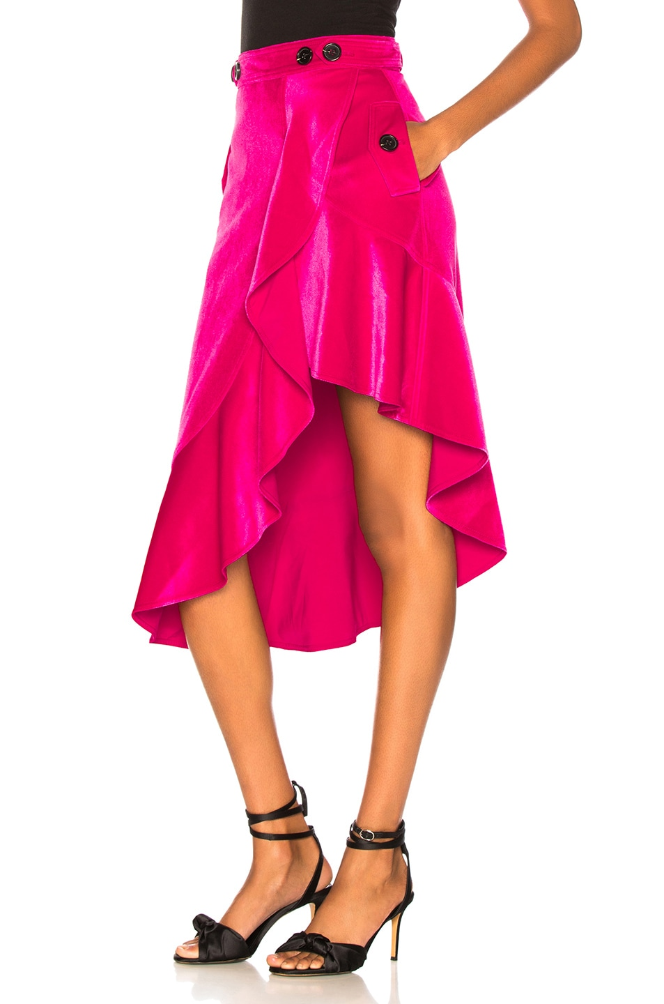 Image 3 of self-portrait Flounced Velvet Skirt in Fuchsia