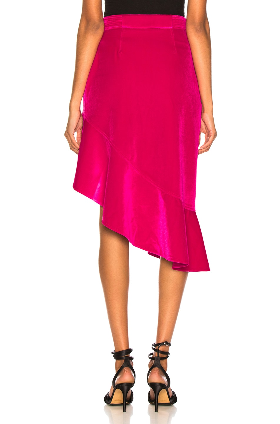 Image 4 of self-portrait Flounced Velvet Skirt in Fuchsia