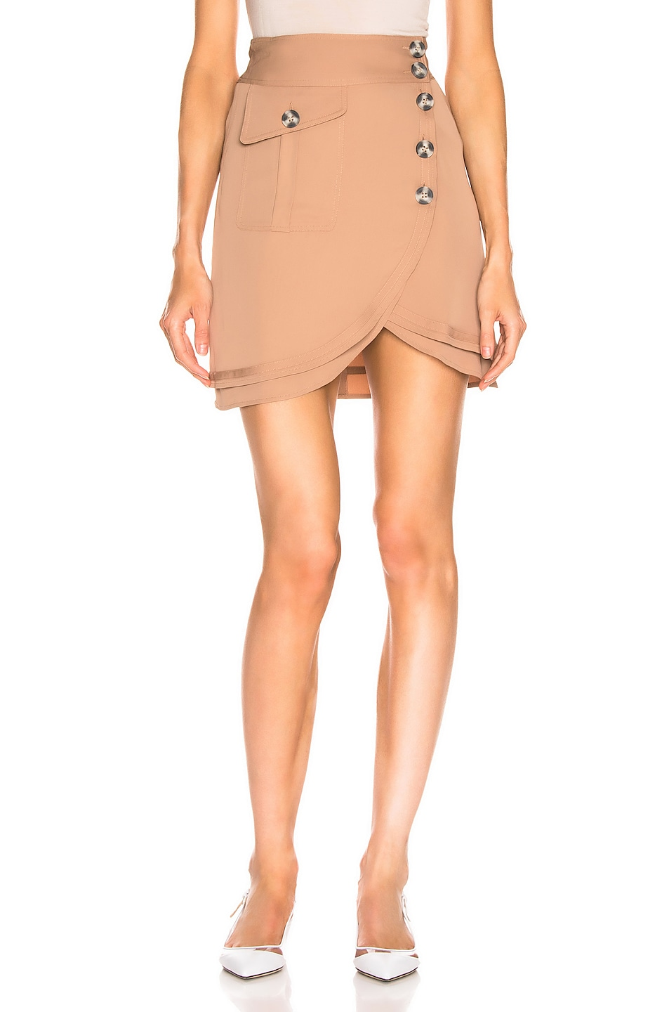Image 1 of self-portrait Mini Skirt in Camel