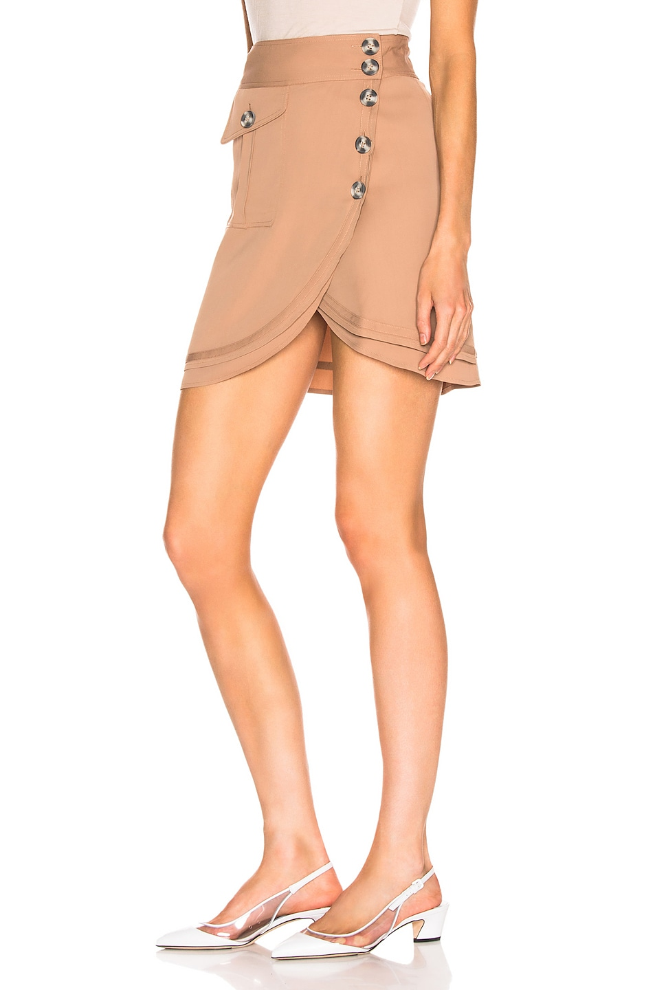 Image 3 of self-portrait Mini Skirt in Camel