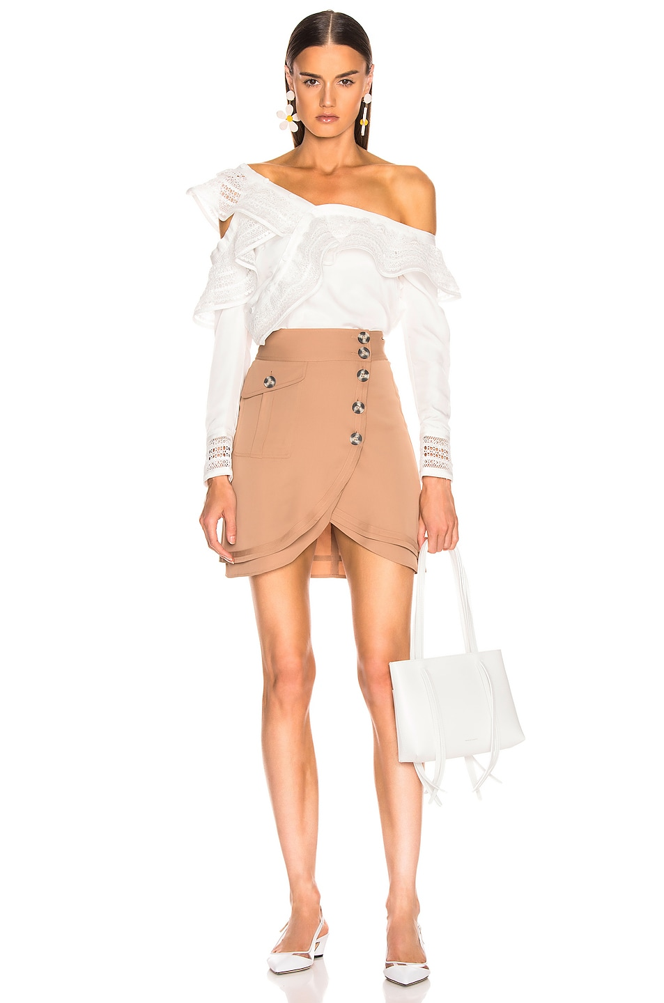 Image 5 of self-portrait Mini Skirt in Camel