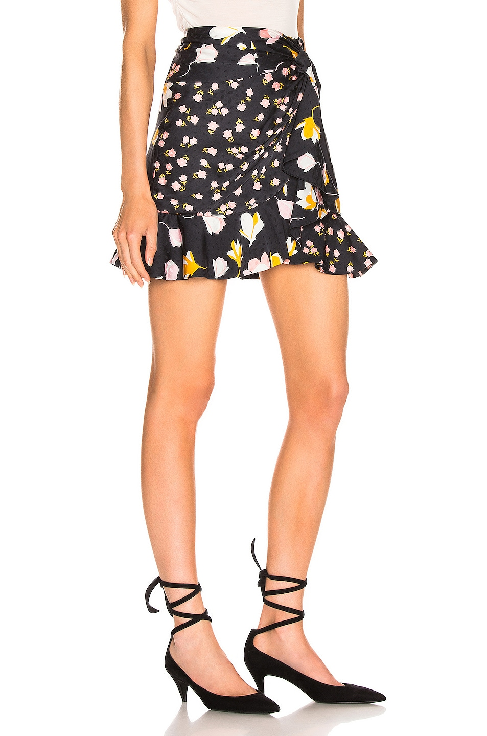 Image 2 of self-portrait Floral Printed Jacquard Skirt in Black