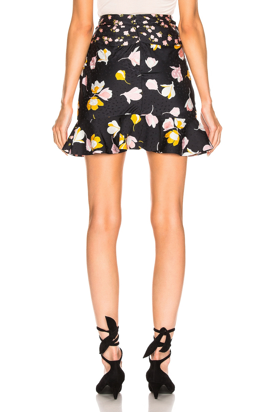 Image 3 of self-portrait Floral Printed Jacquard Skirt in Black