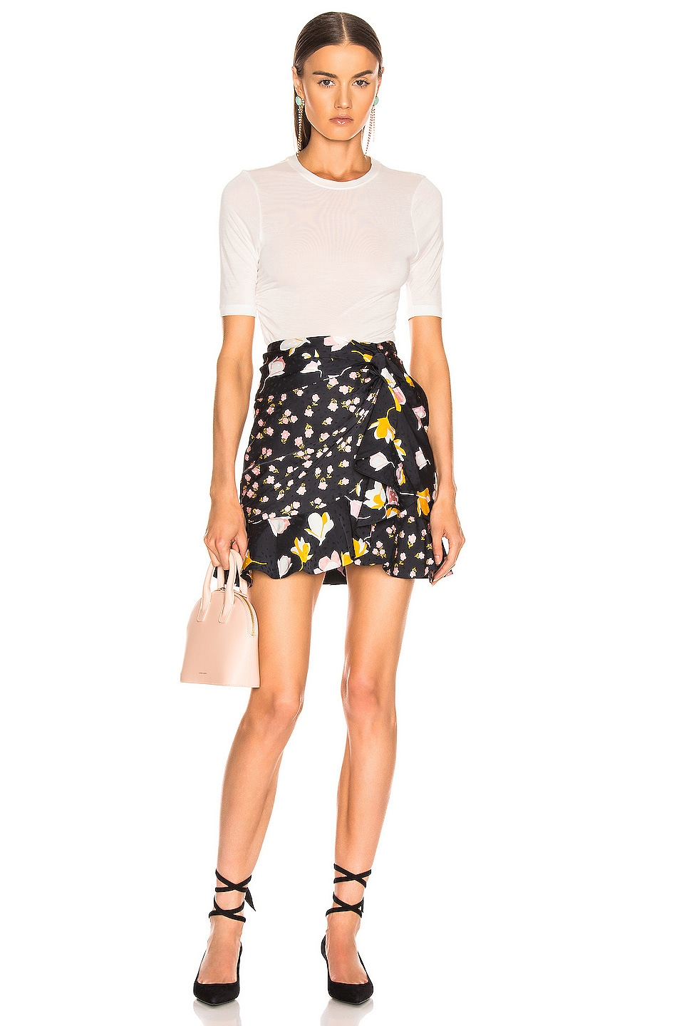 Image 4 of self-portrait Floral Printed Jacquard Skirt in Black