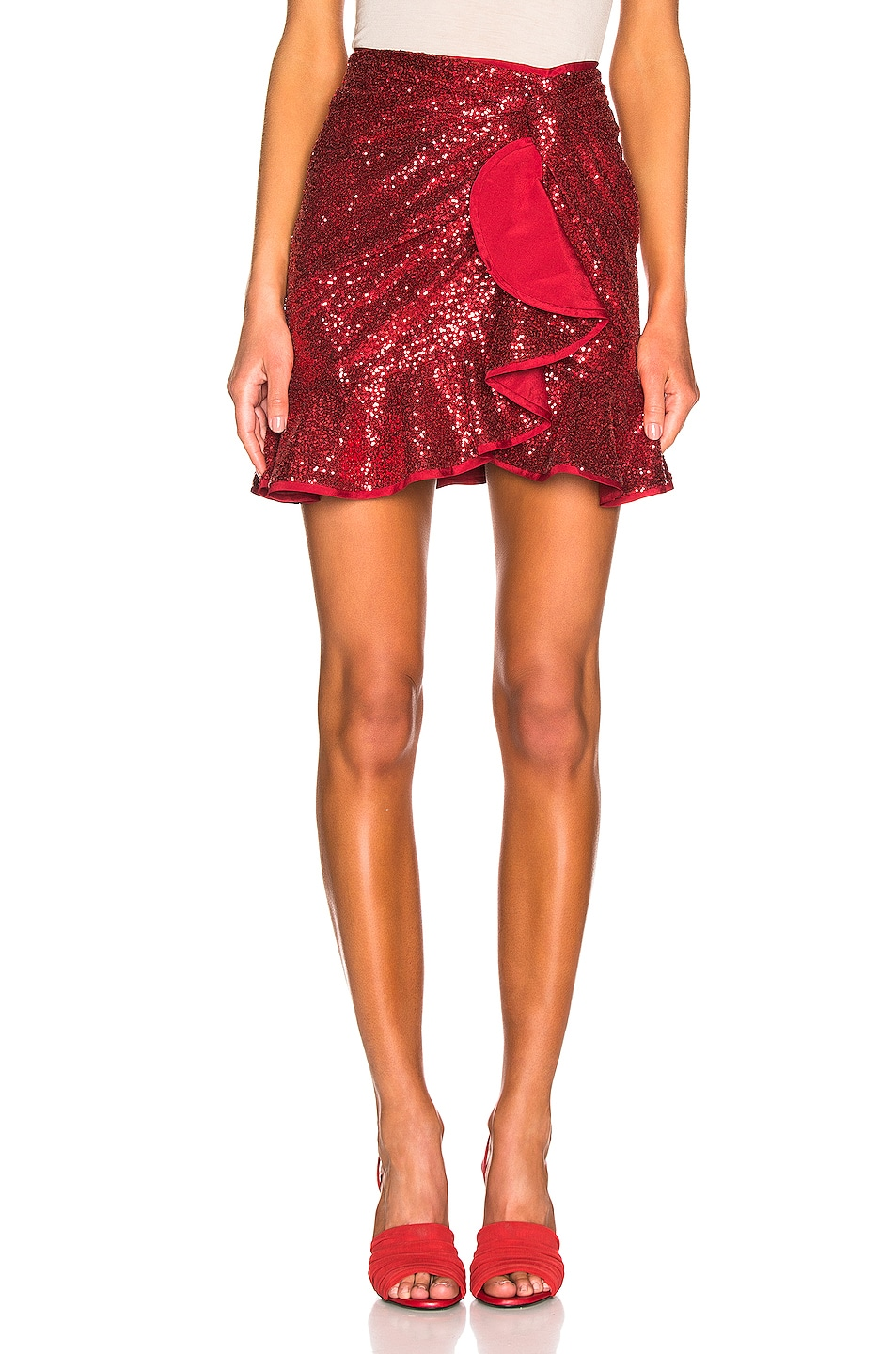 Image 1 of self-portrait for FWRD Sequin Ruffle Skirt in Red