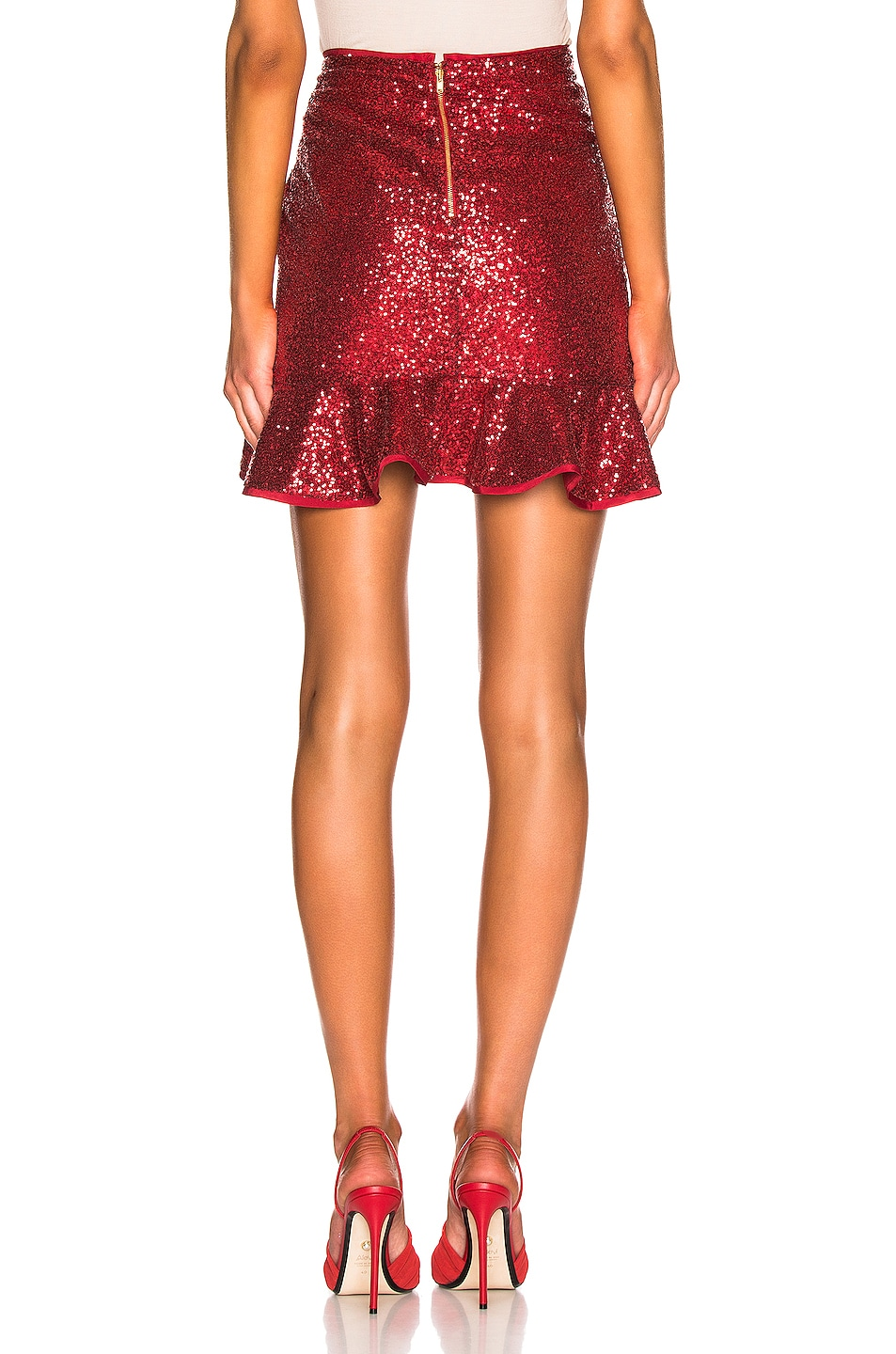 Image 3 of self-portrait for FWRD Sequin Ruffle Skirt in Red