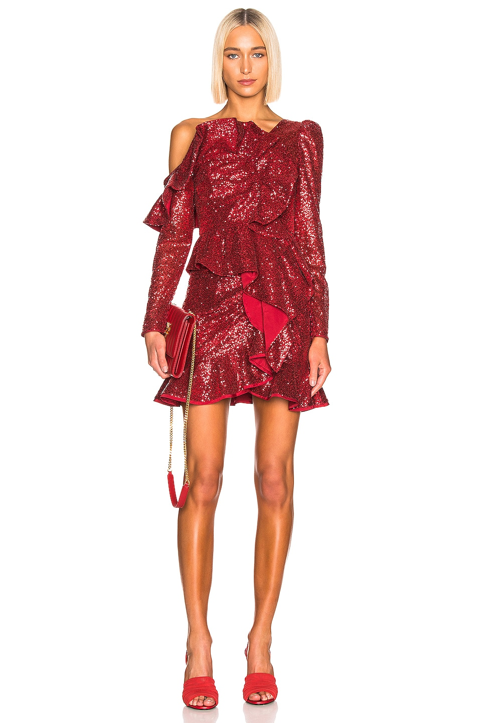 Image 4 of self-portrait for FWRD Sequin Ruffle Skirt in Red