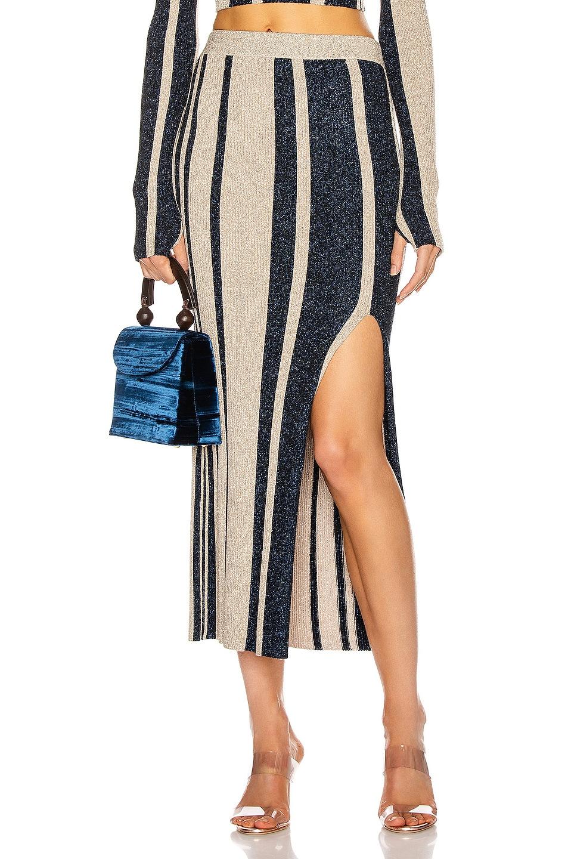 Image 1 of self-portrait Stripe Knit Midi Skirt in Navy & Beige
