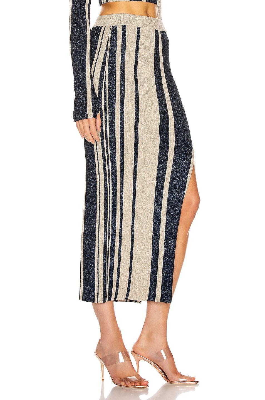 Image 2 of self-portrait Stripe Knit Midi Skirt in Navy & Beige