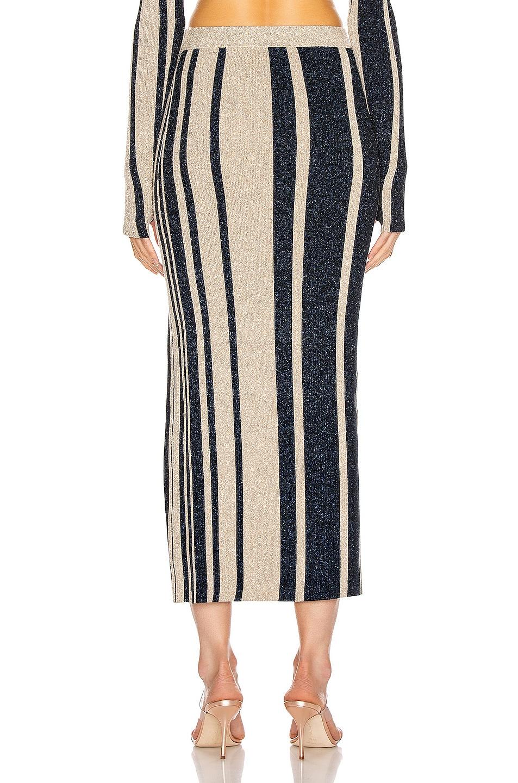 Image 4 of self-portrait Stripe Knit Midi Skirt in Navy & Beige