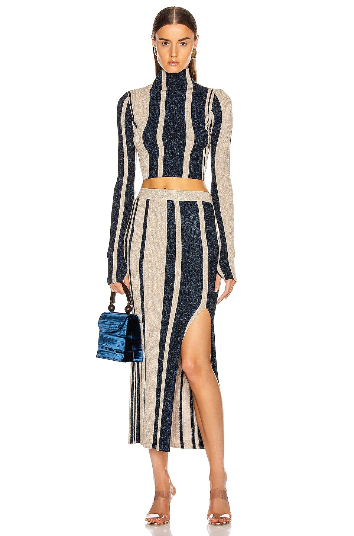Image 5 of self-portrait Stripe Knit Midi Skirt in Navy & Beige