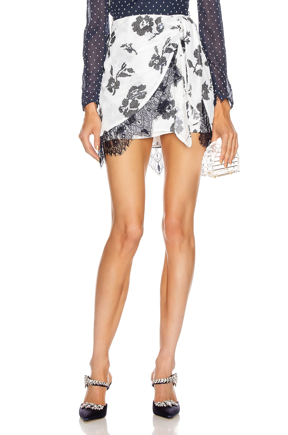 Image 1 of self-portrait Floral Sequin Wrap Skirt in Ivory & Navy