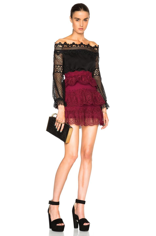 692d4c199482 Image 5 of self-portrait Scallop Edged Mini Skirt in Dark Maroon