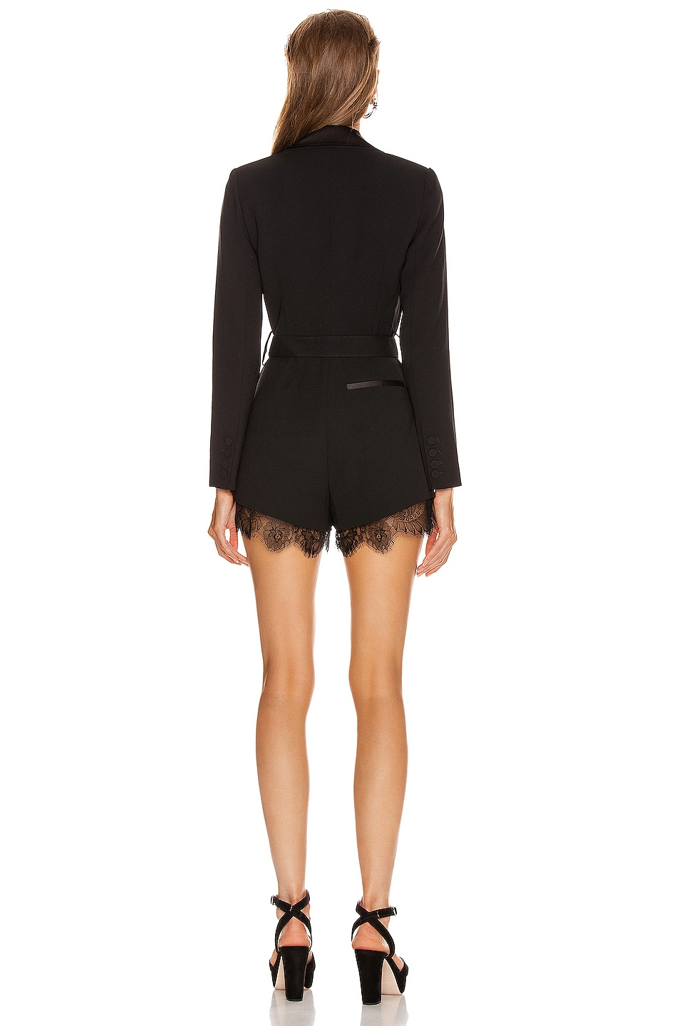 Image 3 of self-portrait Tailored Playsuit in Black