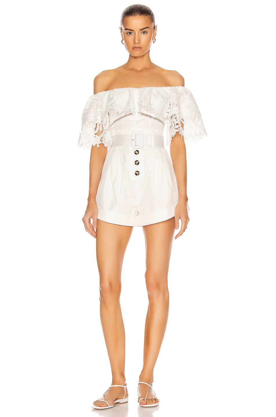 Image 1 of self-portrait Lily Guipure Playsuit in White