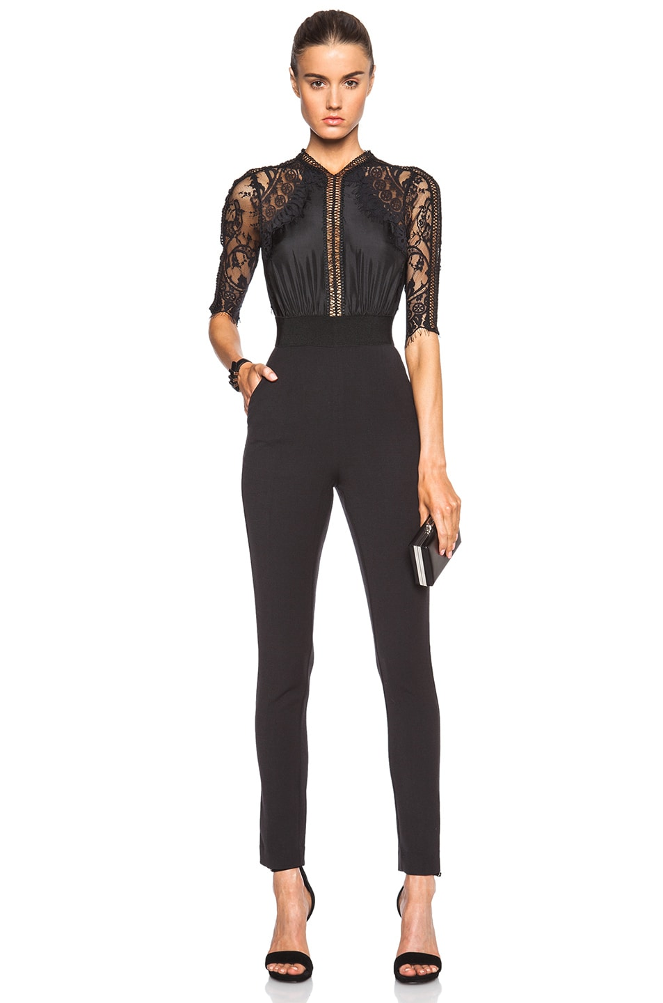 79eb00ee6bb7 Image 1 of self-portrait Lace Sequence Jumpsuit in Black