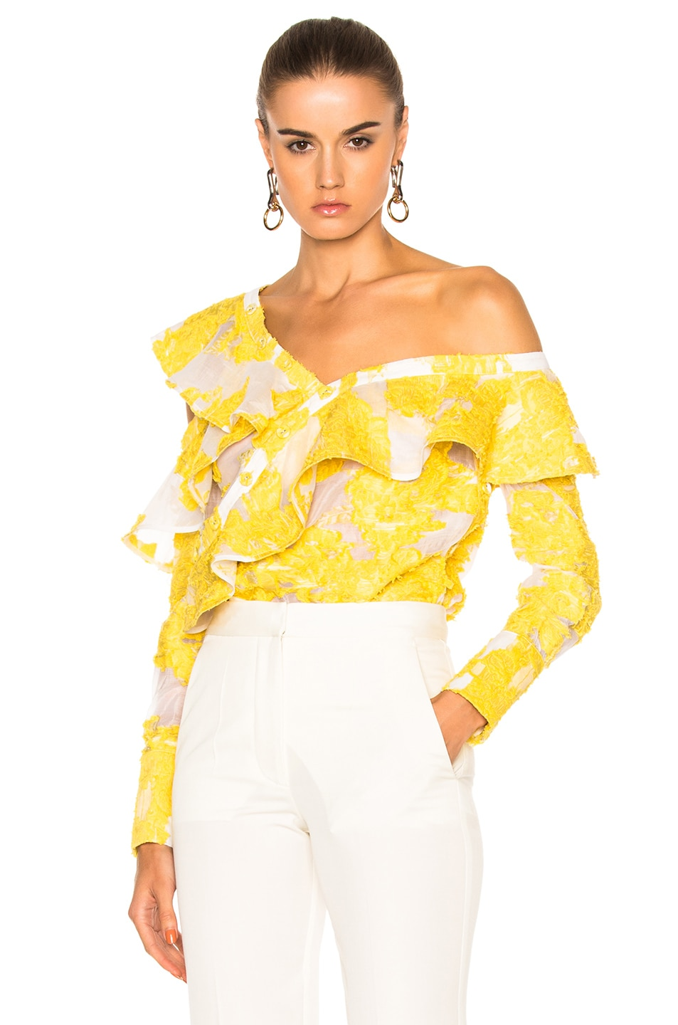 Image 1 of self-portrait Fil Coupe Frill Shirt in Yellow