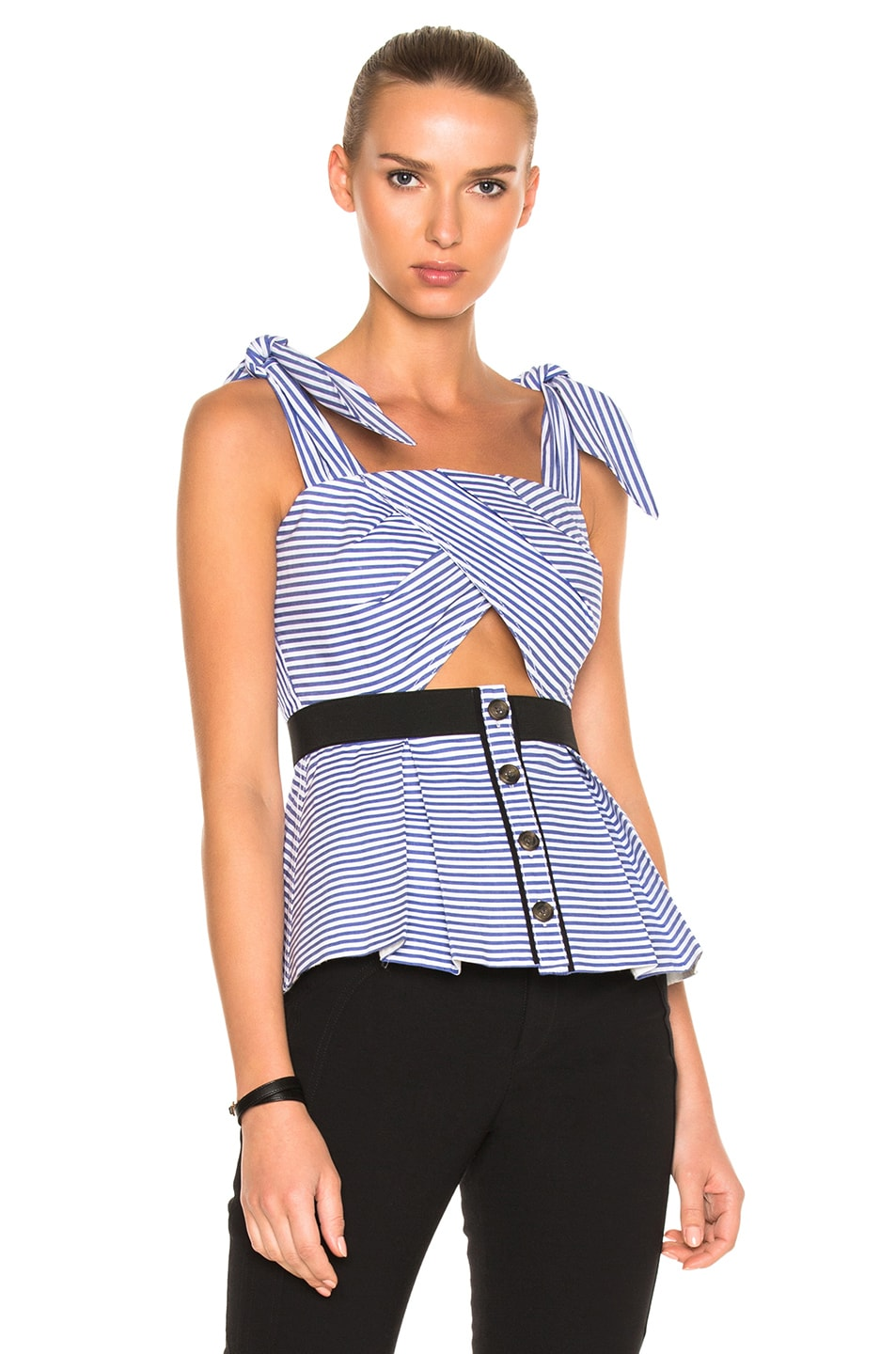 46a62e981a173 Image 1 of self-portrait Stripe Shirting Tie Detail Top in Blue