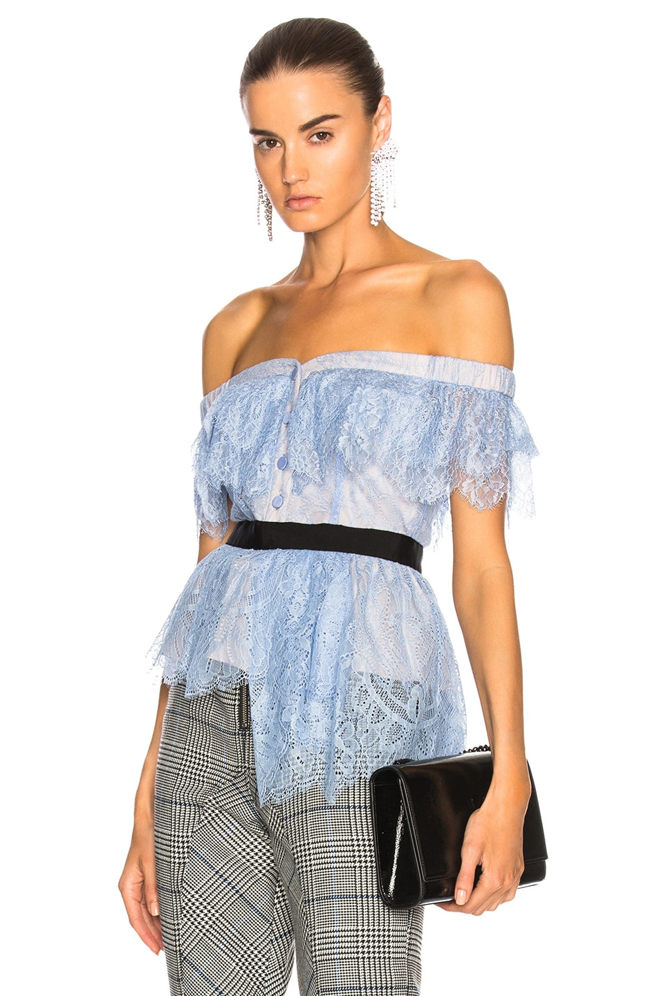 Image 1 of self-portrait Off Shoulder Fine Lace Top in Baby Blue